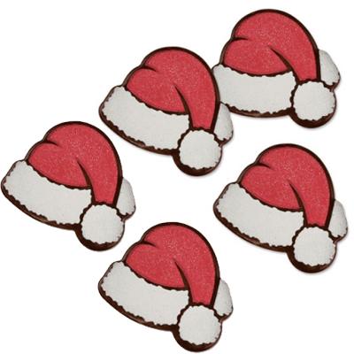 Décor en chocolat noir : Bonnets de Père Noël - Lot de 5