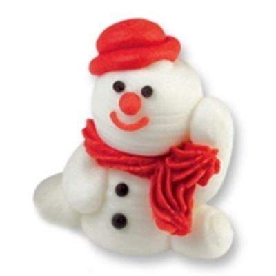 Décor en sucre : Bonhomme de neige rouge