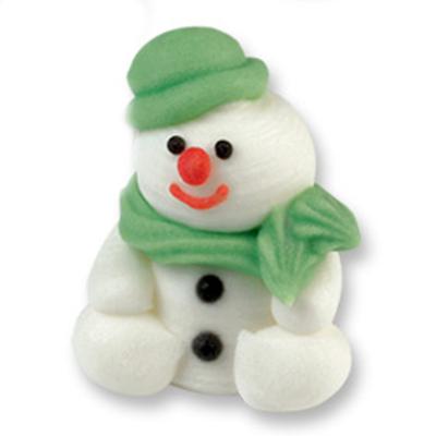 Décor en sucre : Bonhomme de neige vert