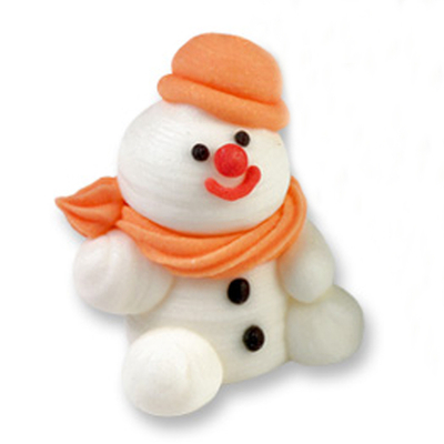 Décor en sucre : Bonhomme de neige orange