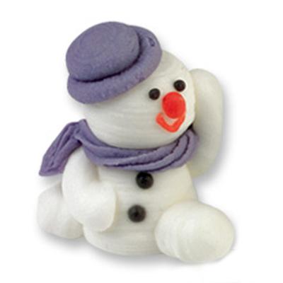 Décor en sucre : Bonhomme de neige violet