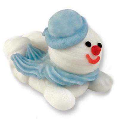 Décor en sucre : Bonhomme de neige bleu