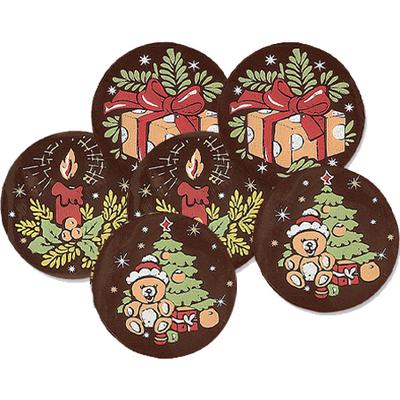 Décor en chocolat : Médaillon de Noël - Lot de 6