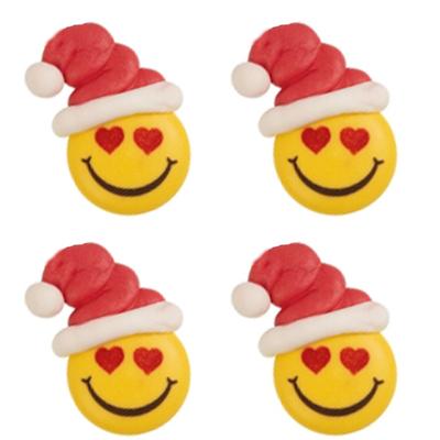 Décor en sucre : Smiley bonnet de noël 3 - lot de 4