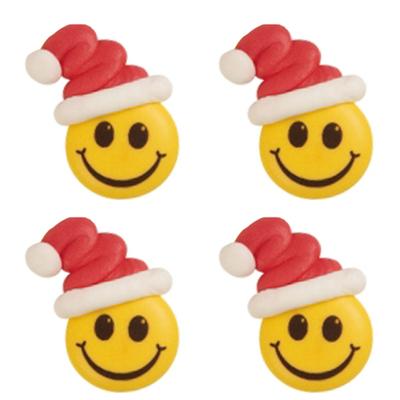 Décor en sucre : Smiley bonnet de noël 2 - lot de 4