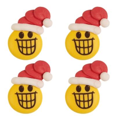 Décor en sucre : Smiley bonnet de noël 1 - lot de 4