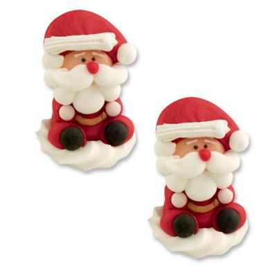 Décor en sucre : Père Noël en 3 D - Lot de 2