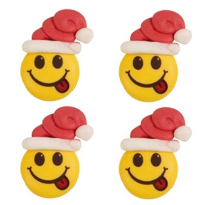 Décor en sucre : Smiley bonnet de noël 4 - lot de 4