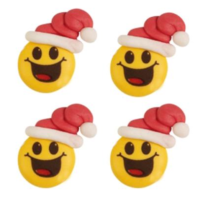Décor en sucre : Smiley bonnet de noël 5 - lot de 4