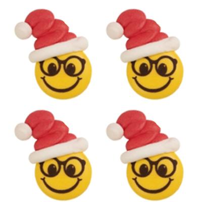 Décor en sucre : Smiley bonnet de noël 6 - lot de 4