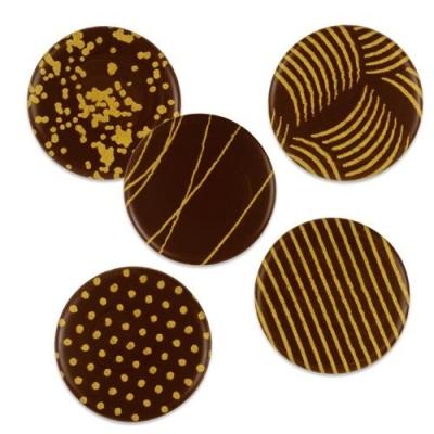 Décor en chocolat noir : Plaquettes en or - Lot de 5