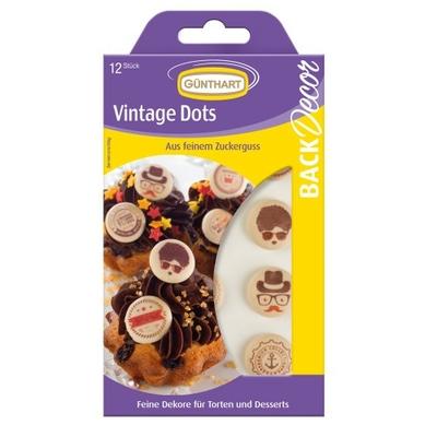 Décor en sucre : Assortiment de 15 décorations boutons vintage