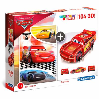 Puzzle Disney Clementoni Cars 104 pièces + 3D Model