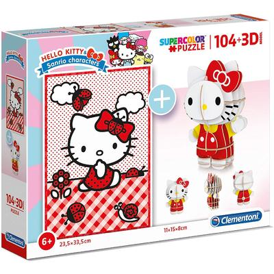 Puzzle Clementoni Hello Kitty 104 pièces + 3D Model