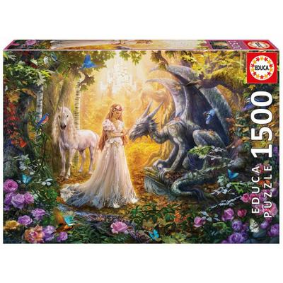 Puzzle Educa Dragon, princesse et licorne 1500 pièces