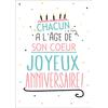 Carte Postale  Chacun a l'âge de son coeur Joyeux Anniversaire Lulu Shop