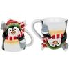 www.lulu-shop.fr Mug Tasse cadeau pour la famille et les amis et pour les occasions Joyeux noël Pengouin de noël avec seau de neige