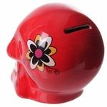 Tirelire crâne jour des morts mexicain petit modèle rouge lulu shop 3
