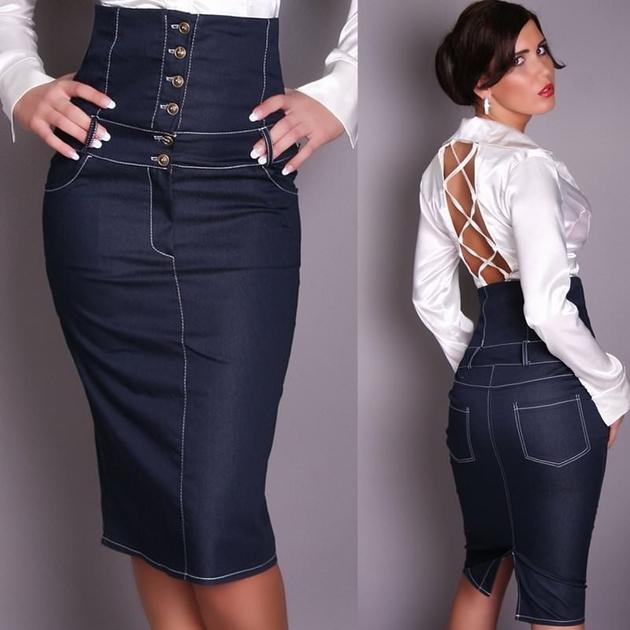 ad5fb4cf4859 Jupe en jean taille haute longue   Sveikuoliai