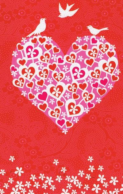 Carte Postale Double  Coeur avec Oiseaux Blanc Lulu Shop