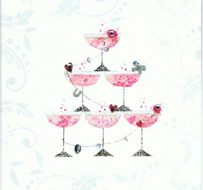 Carte Postale Double  Félicitations - Coupe Champagne lULU sHOP