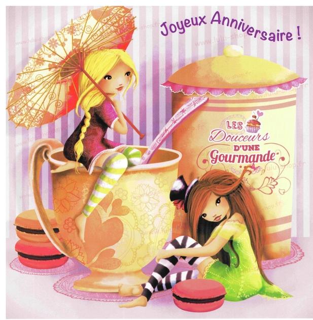 www.lulu-shop.fr carte postale Anniverssaire gourmand