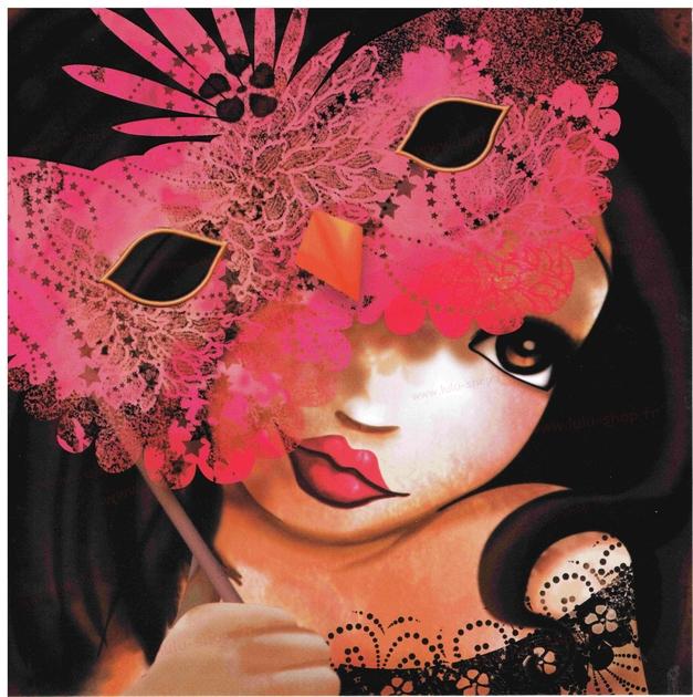 www.lulu-shop.fr carte postale La Belle au masque !