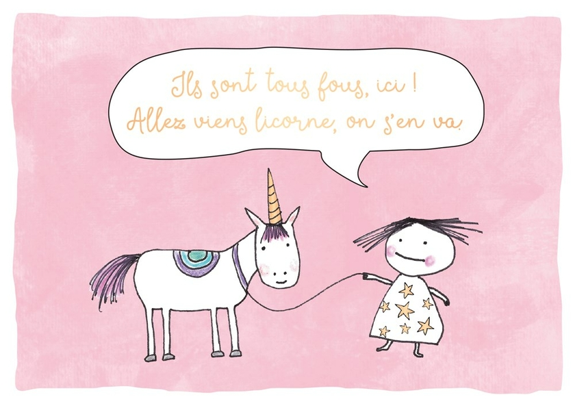 www.lulu-shop.fr Carte postale Double Licorne