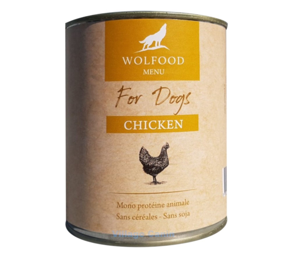 Patee chien wolfood 800gr poulet