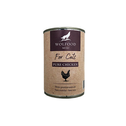 wolfood patee chats 400g poulet
