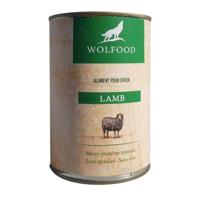 patee chien wolfood agneau 400gr