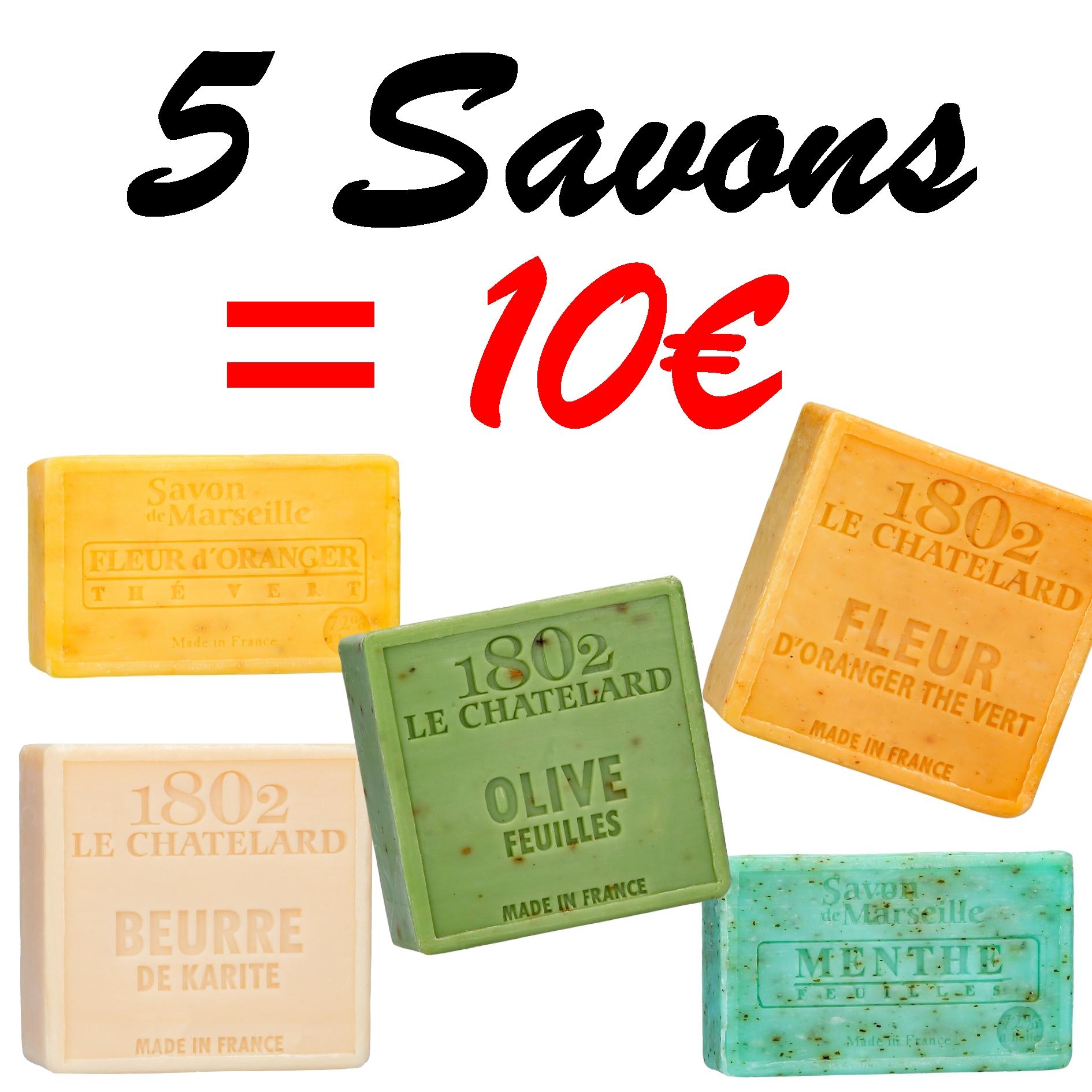 LOT DE 5 SAVONS AU CHOIX !