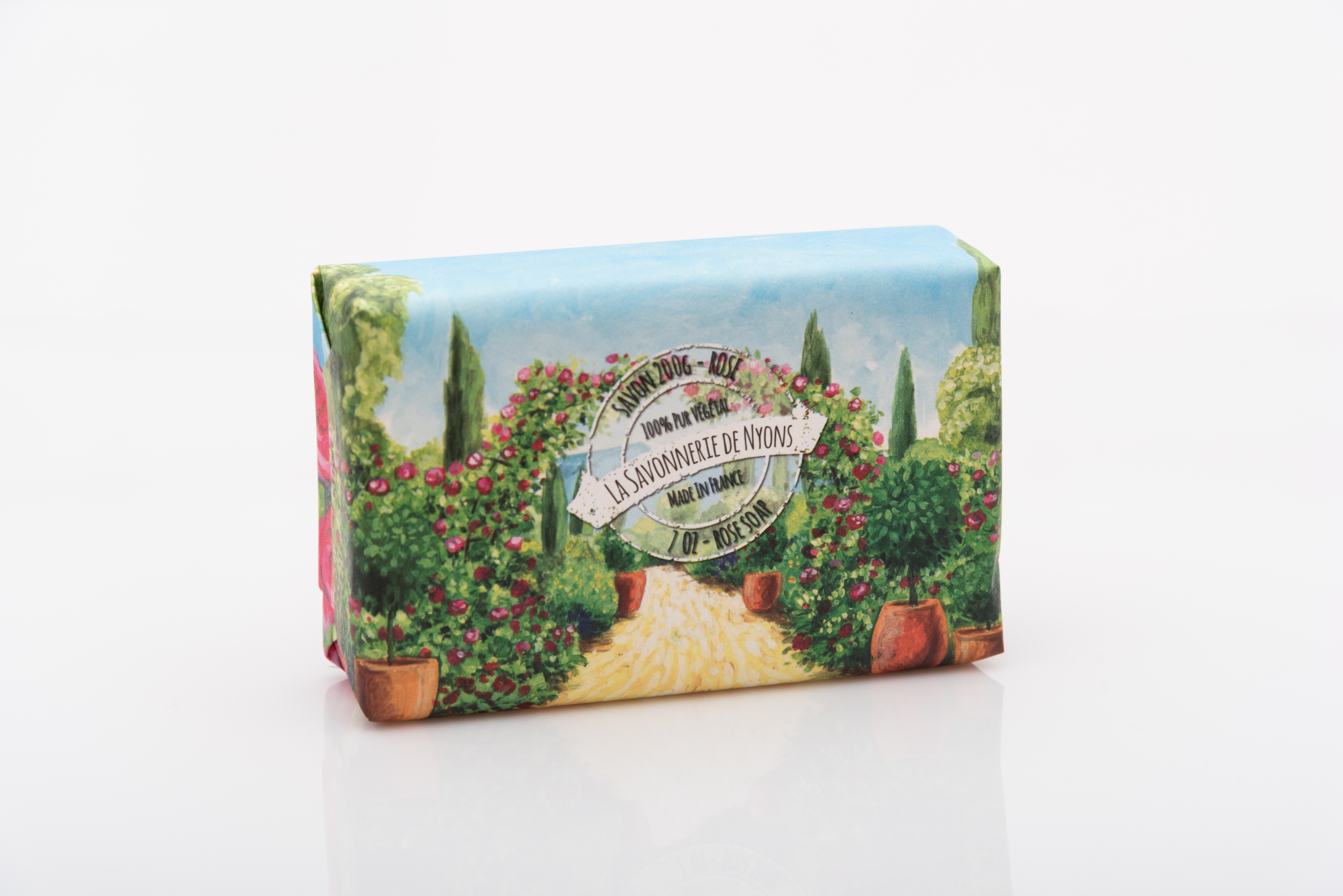 SAVON DE NYONS  VEGETAL A LA ROSE MADE IN FRANCE 200 GRAMMES EMBALLAGE PAPIER