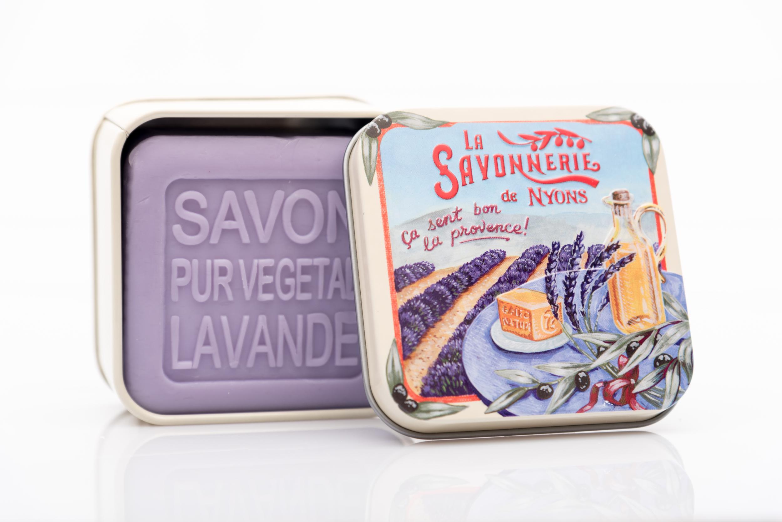 SAVON DE NYONS VEGETAL MADE IN FRANCE AVEC BOITE METALIQUE MODELE 25 A LA LAVANDE