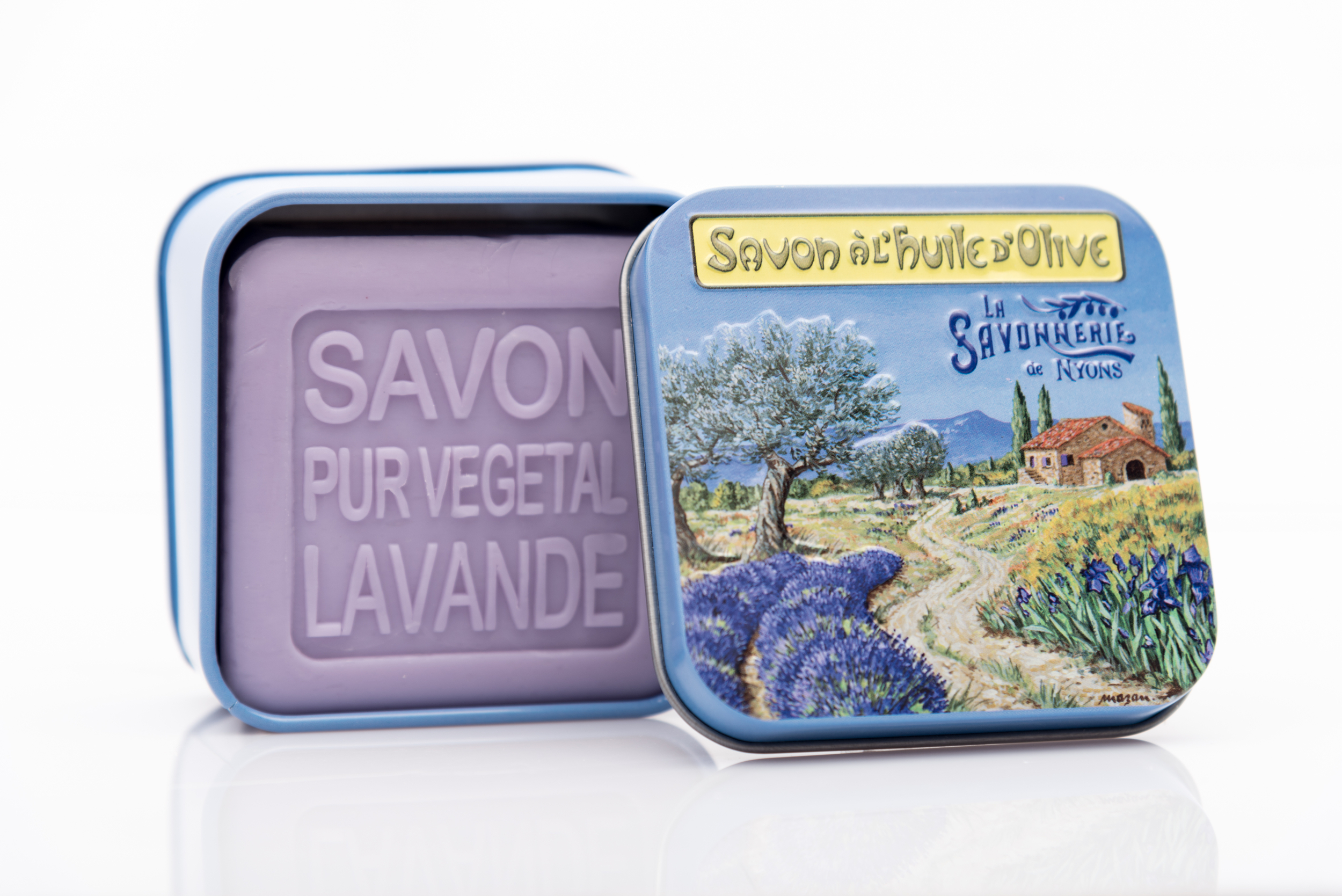 SAVON DE NYONS VEGETAL MADE IN FRANCE AVEC BOITE METALIQUE MODELE 26 A LA LAVANDE