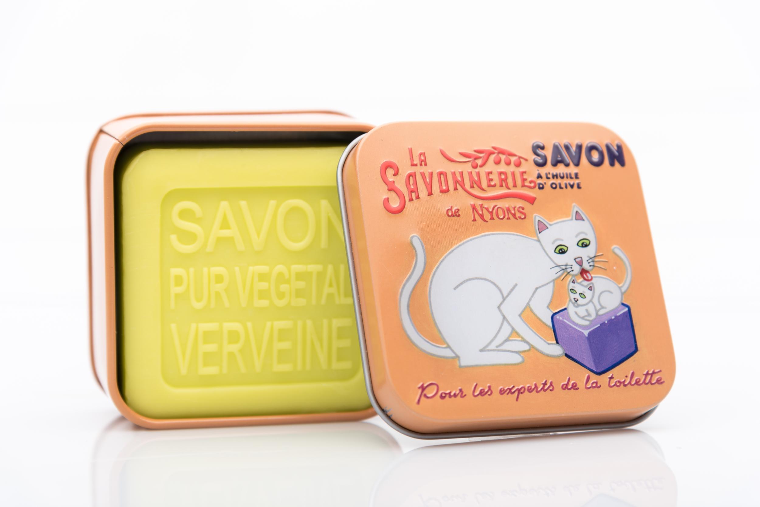 SAVON DE NYONS VEGETAL MADE IN FRANCE AVEC BOITE METALIQUE MODELE 33 A LA VERVEINE