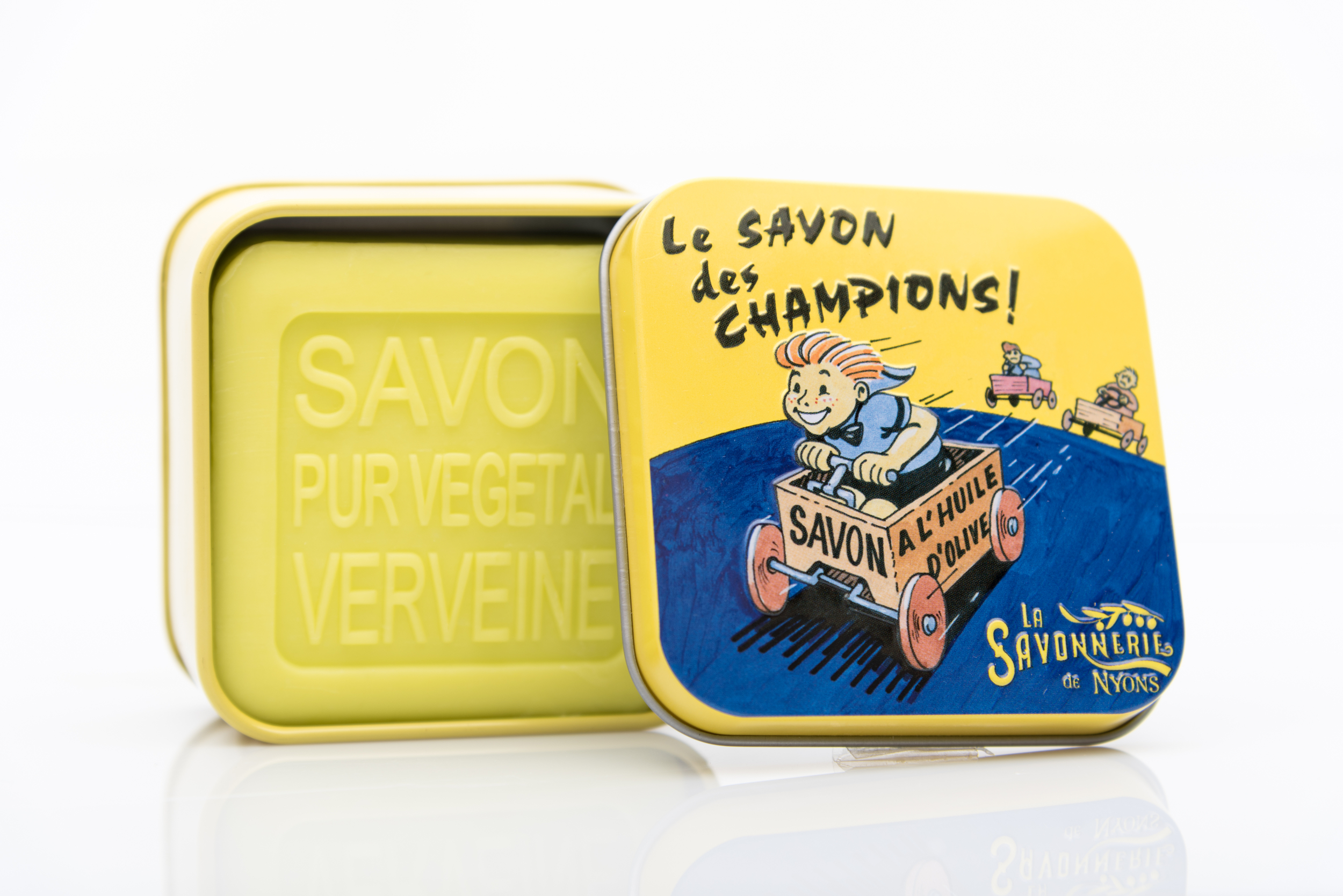 SAVON DE NYONS VEGETAL MADE IN FRANCE AVEC BOITE METALIQUE MODELE 34 A LA VERVEINE