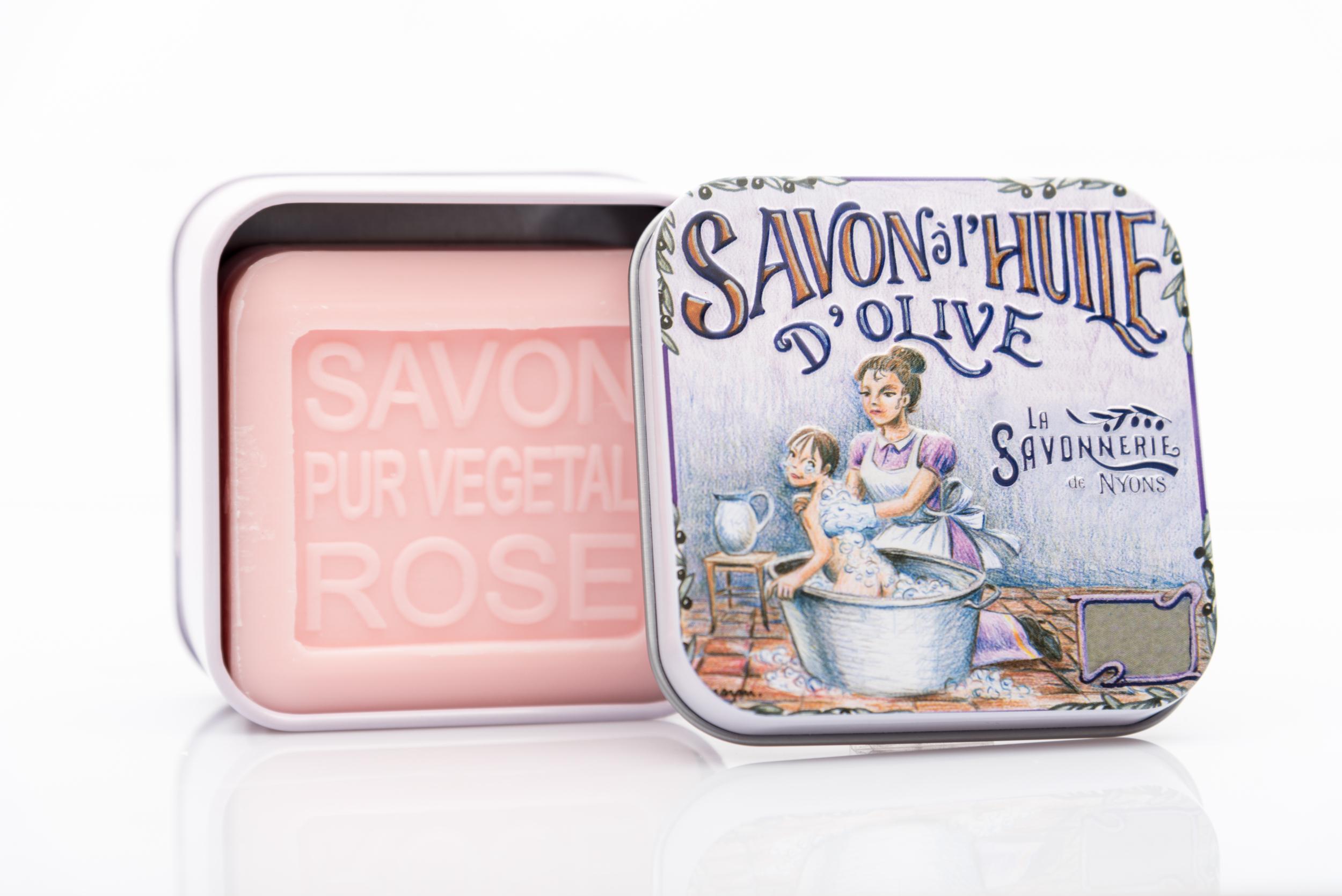SAVON DE NYONS VEGETAL MADE IN FRANCE AVEC BOITE METALIQUE MODELE 7 A LA ROSE