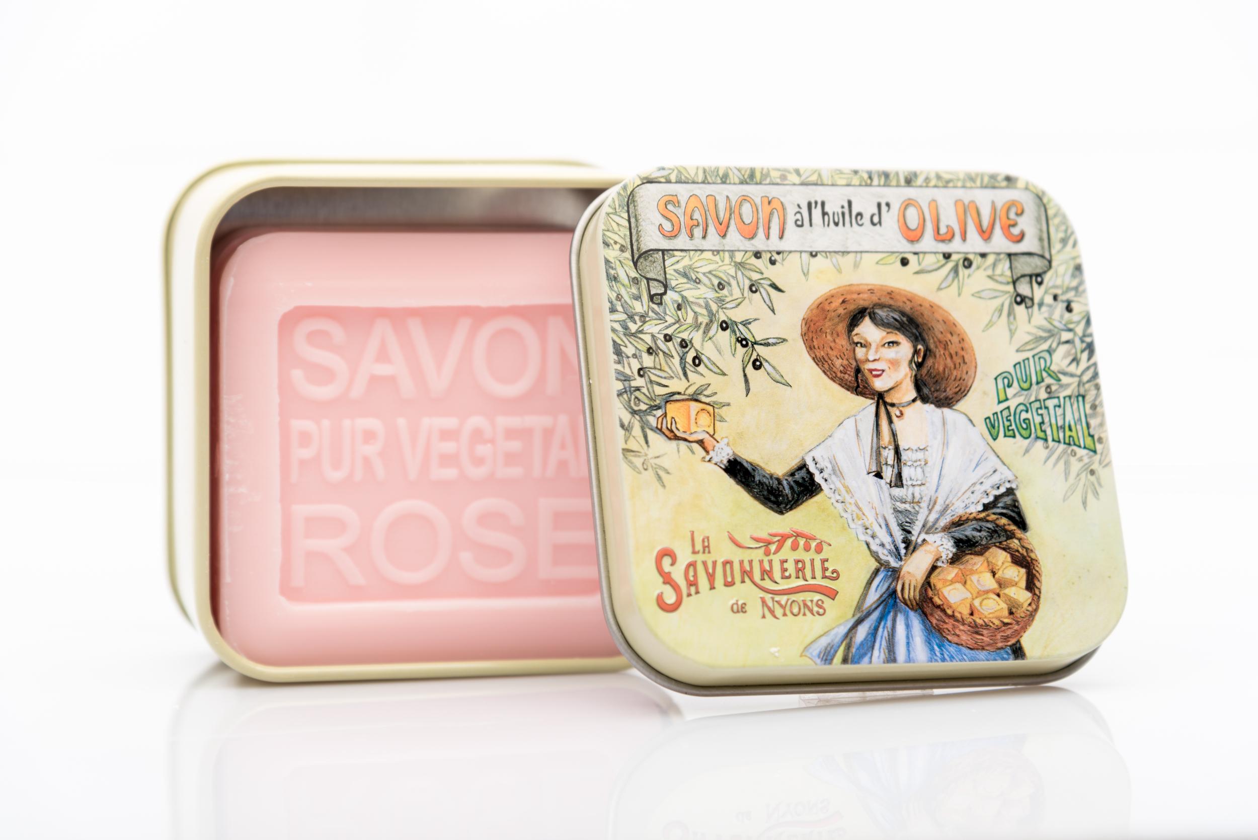SAVON DE NYONS VEGETAL MADE IN FRANCE AVEC BOITE METALIQUE MODELE 8 A LA ROSE