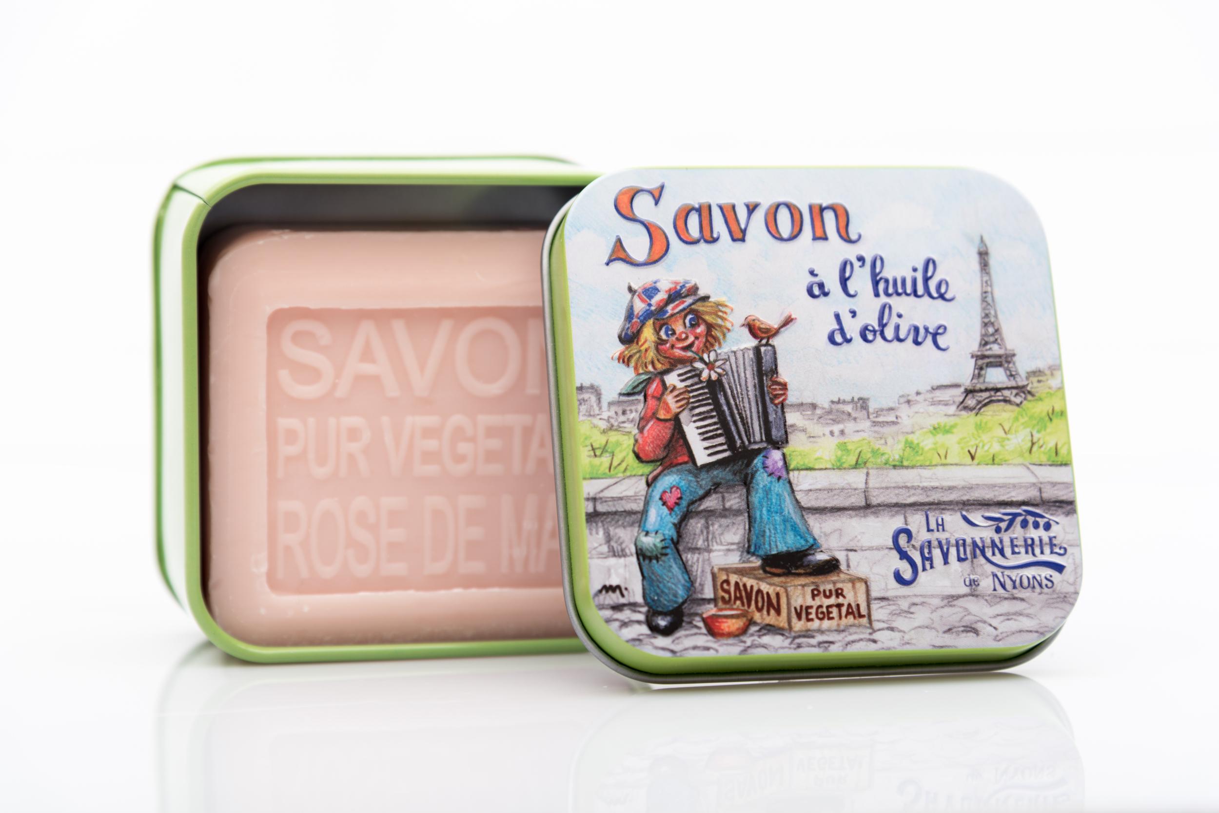 SAVON DE NYONS VEGETAL MADE IN FRANCE AVEC BOITE METALIQUE MODELE 46 A LA ROSE DE MAI