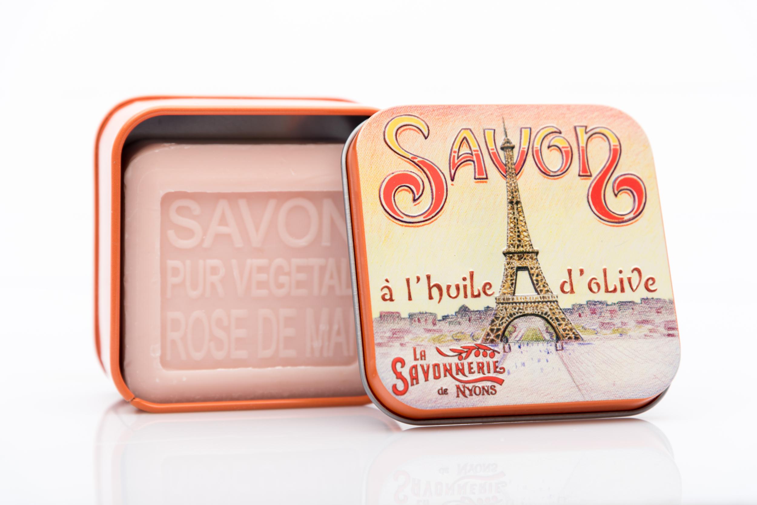 SAVON DE NYONS VEGETAL MADE IN FRANCE AVEC BOITE METALIQUE MODELE 45 A LA ROSE DE MAI