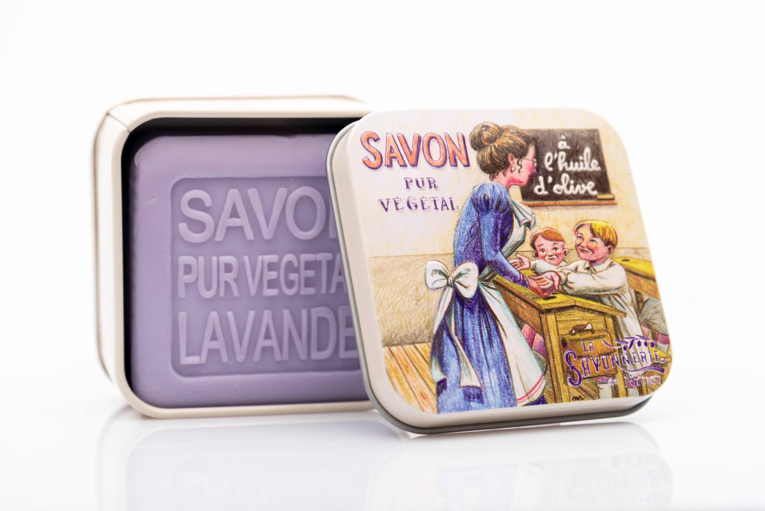SAVON DE NYONS VEGETAL MADE IN FRANCE AVEC BOITE METALIQUE MODELE 27 A LA LAVANDE