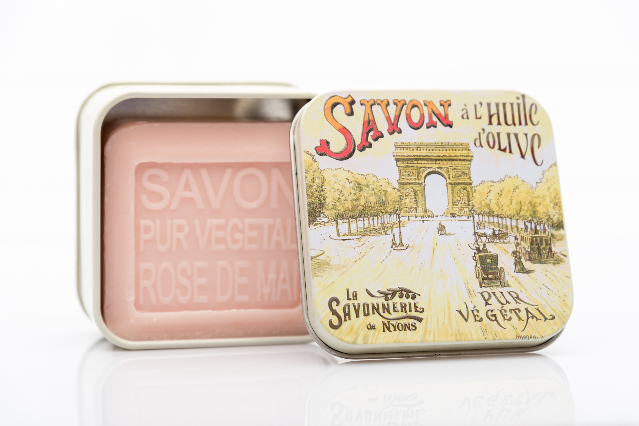 SAVON DE NYONS VEGETAL MADE IN FRANCE AVEC BOITE METALIQUE MODELE 47 A LA ROSE DE MAI