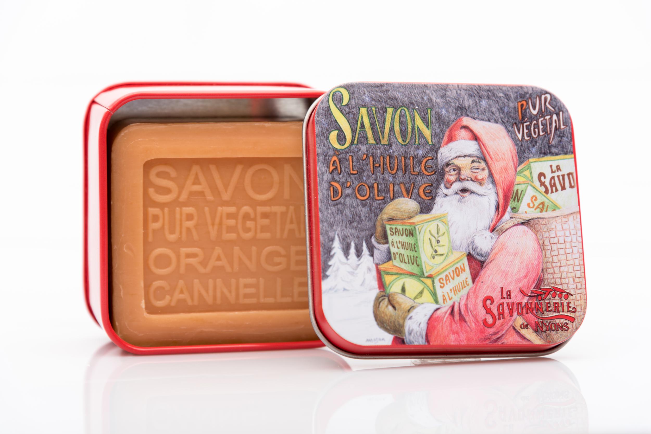 SAVON DE NYONS VEGETAL MADE IN FRANCE AVEC BOITE METALIQUE MODELE 53 ORANGE CANNELLE