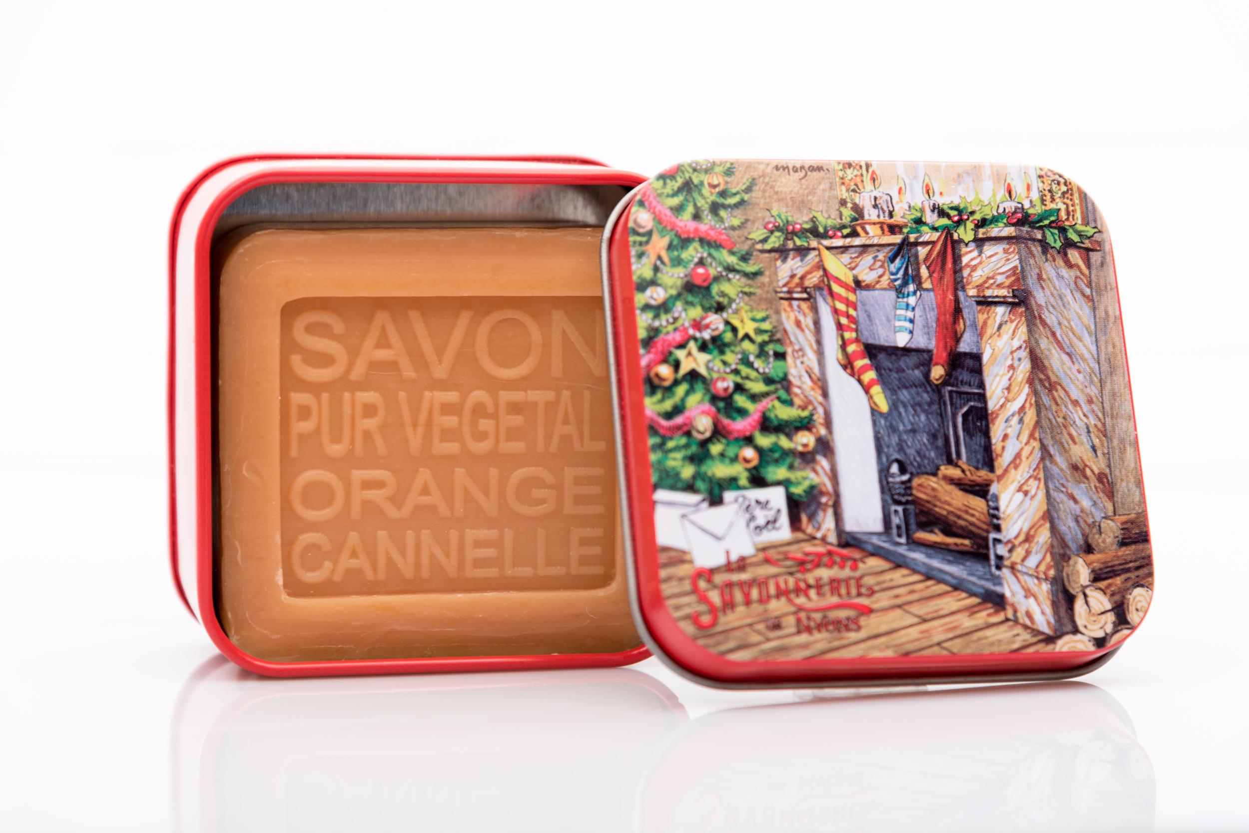 SAVON DE NYONS VEGETAL MADE IN FRANCE AVEC BOITE METALIQUE MODELE 55 ORANGE CANNELLE