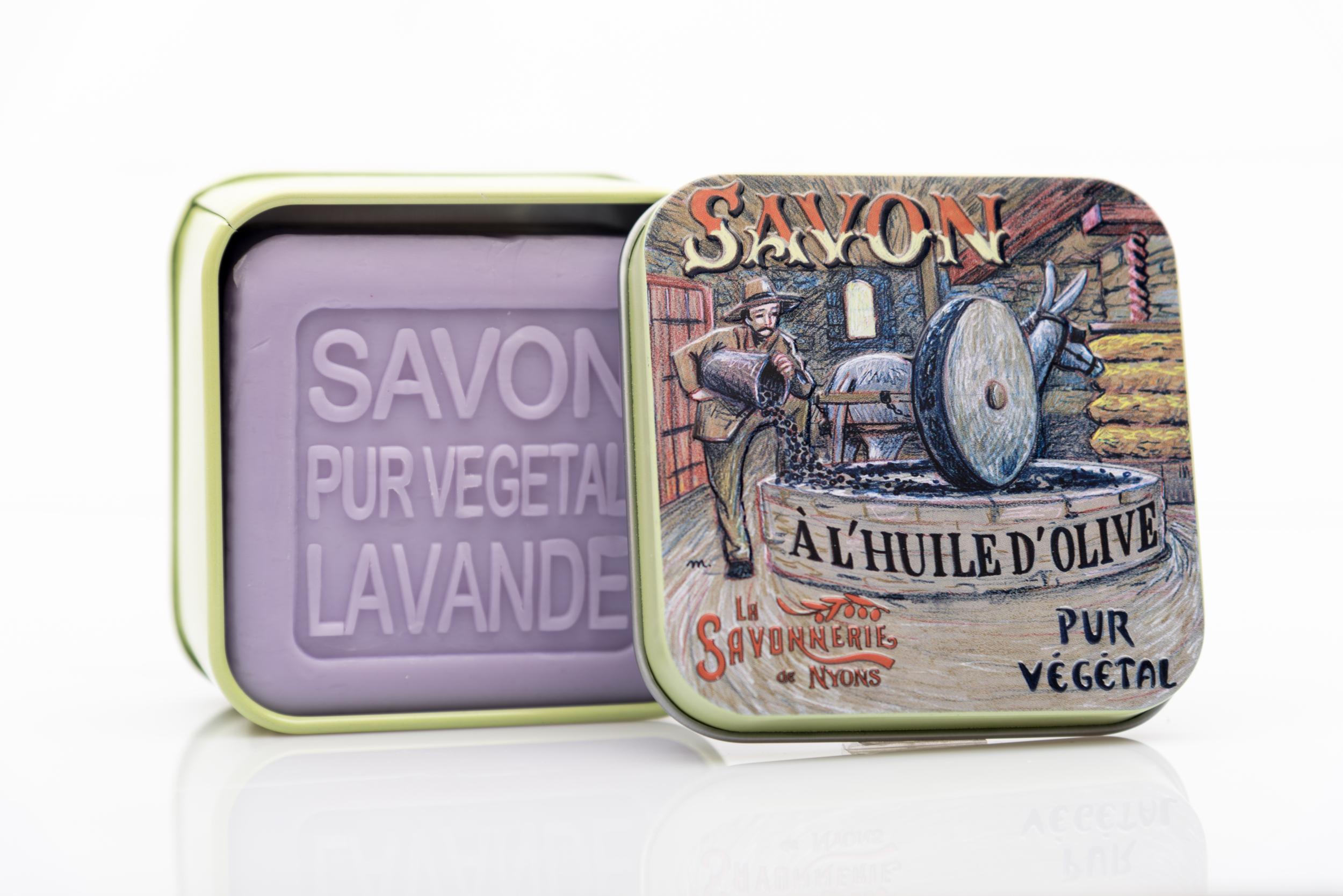 SAVON DE NYONS VEGETAL MADE IN FRANCE AVEC BOITE METALIQUE MODELE 32 A LA LAVANDE
