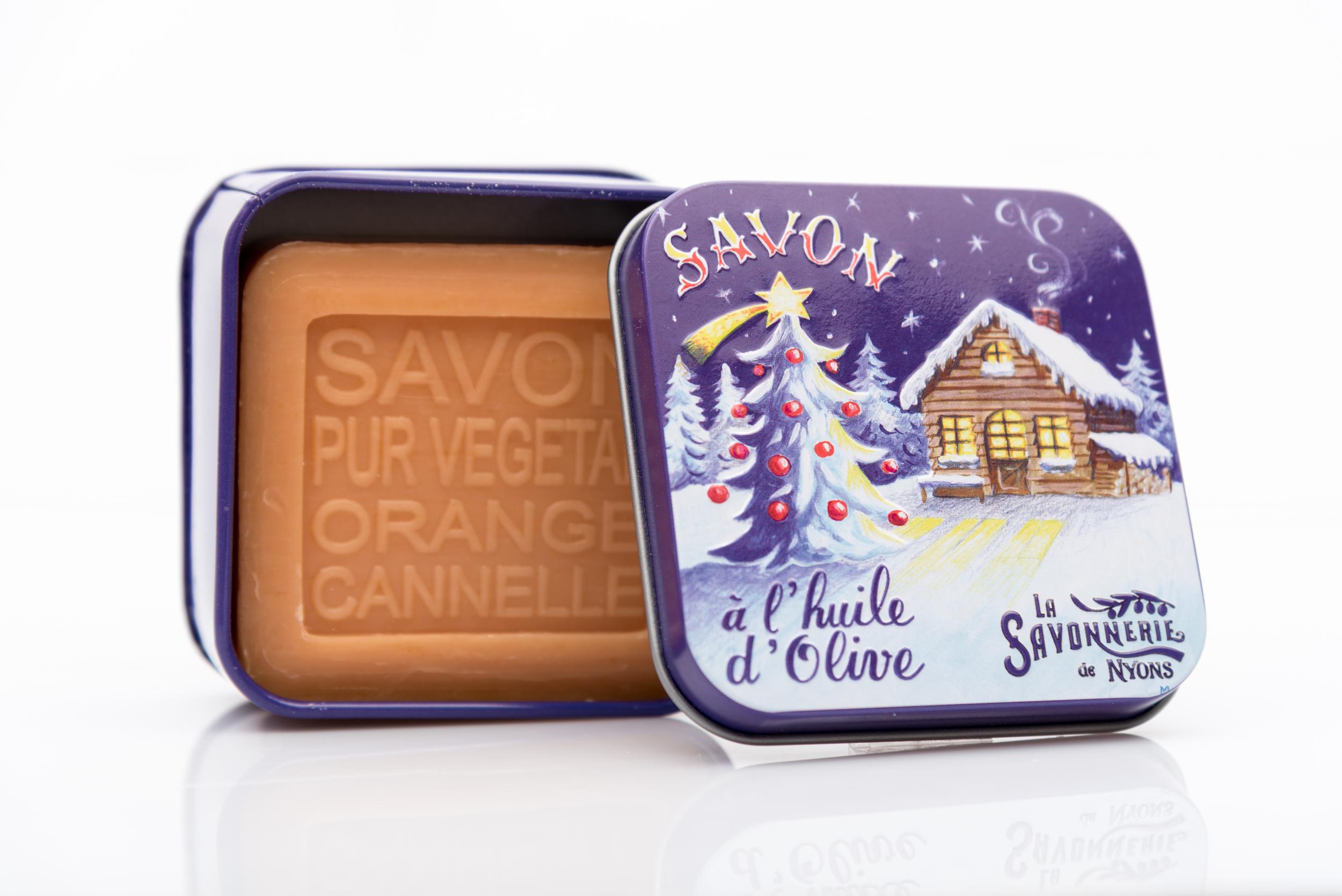 SAVON DE NYONS VEGETAL MADE IN FRANCE AVEC BOITE METALIQUE MODELE 57 ORANGE CANNELLE