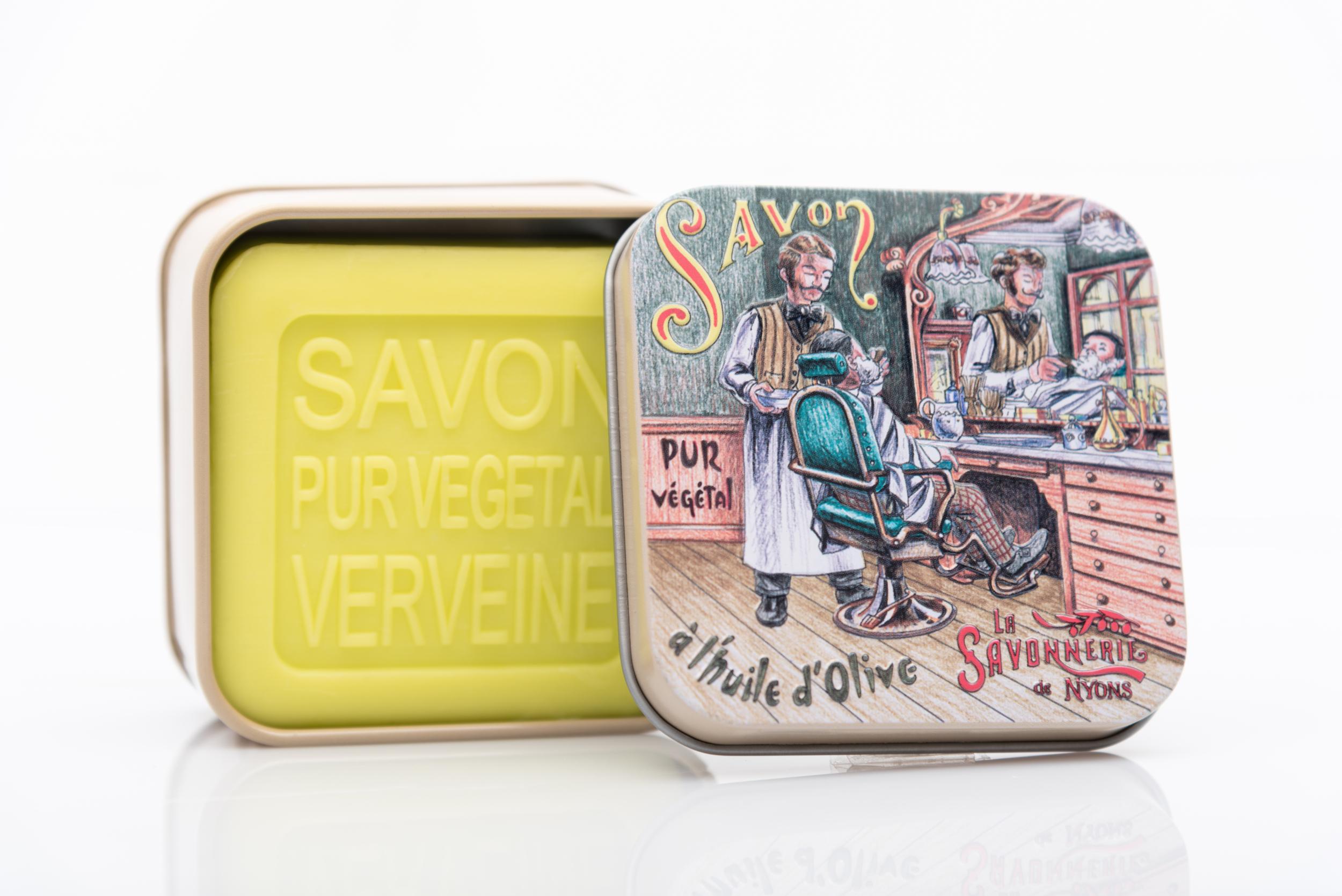 SAVON DE NYONS VEGETAL MADE IN FRANCE AVEC BOITE METALIQUE MODELE 37 A LA VERVEINE