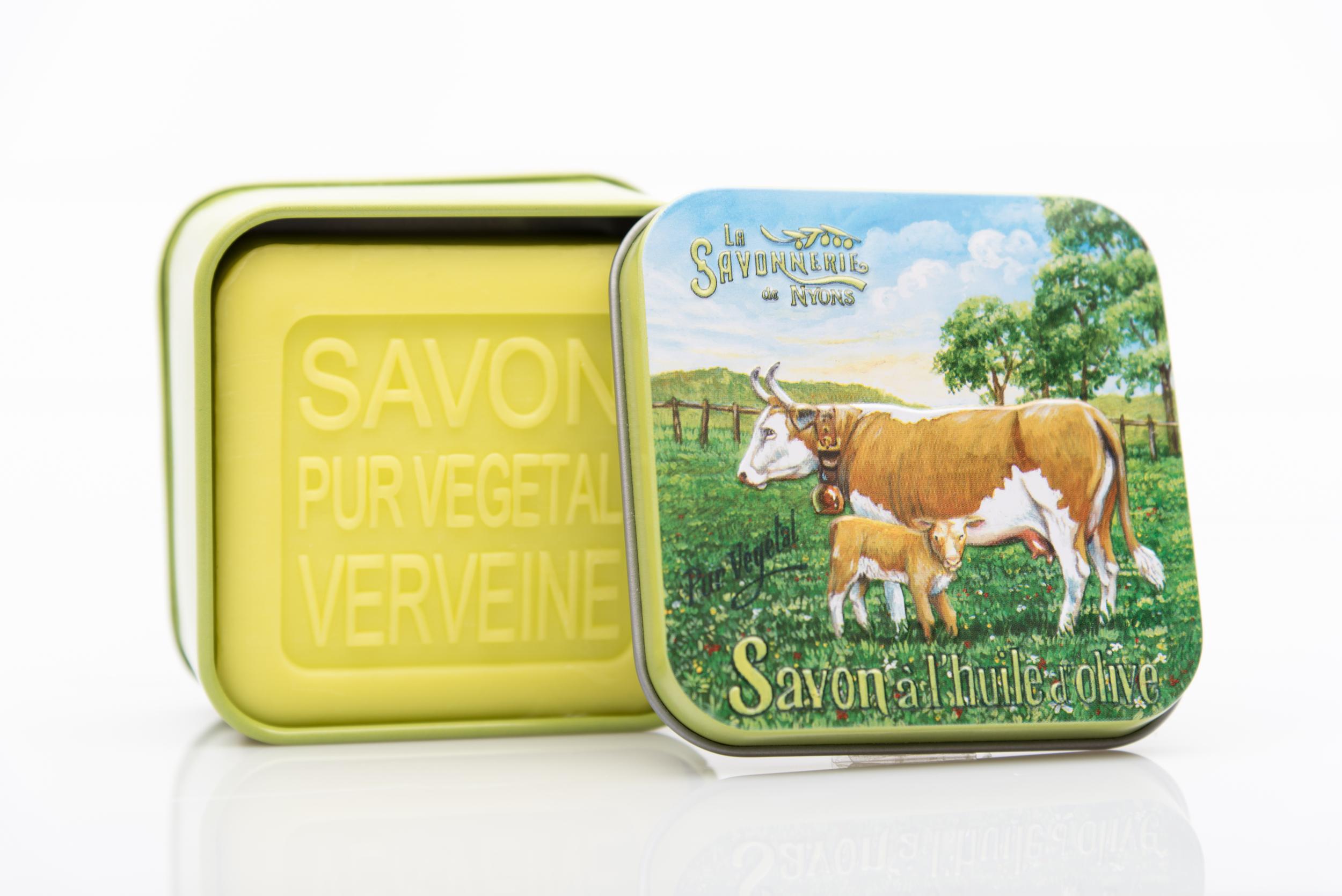 SAVON DE NYONS VEGETAL MADE IN FRANCE AVEC BOITE METALIQUE MODELE 40 A LA VERVEINE