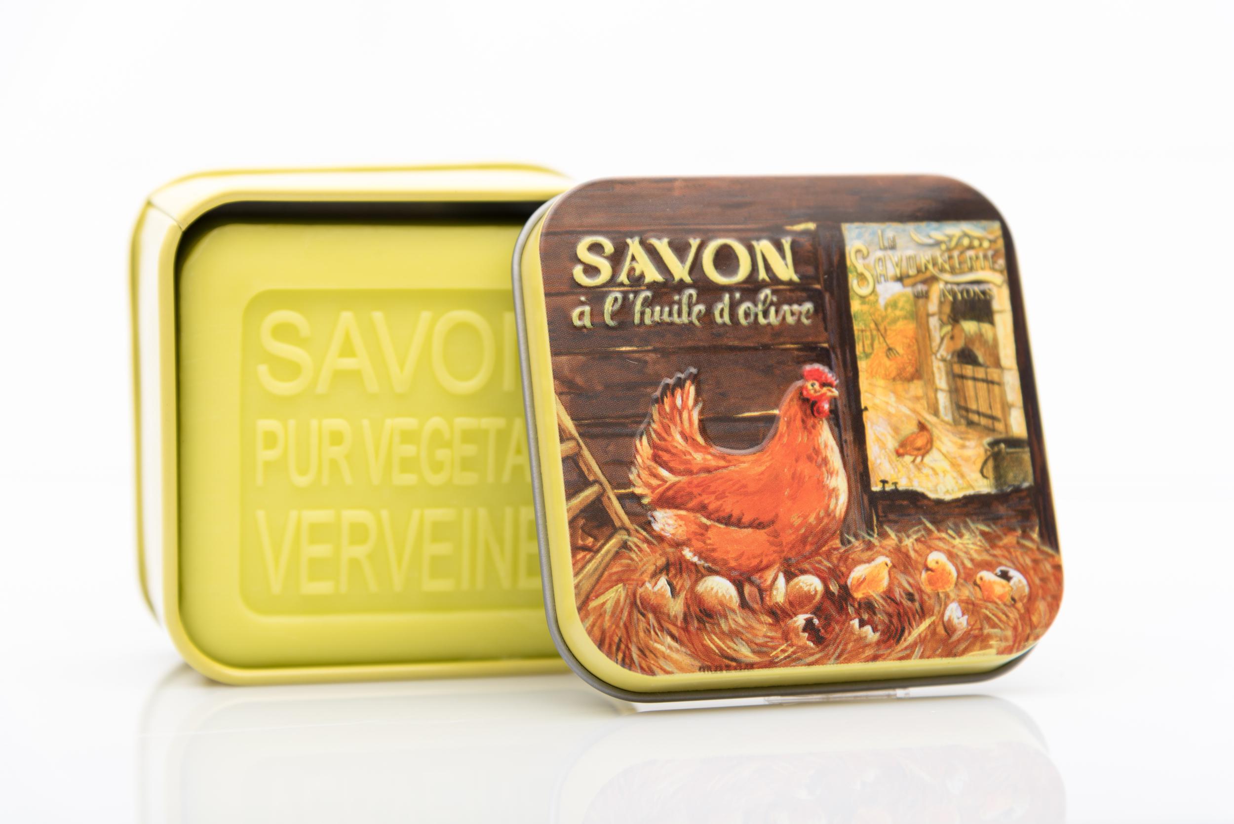 SAVON DE NYONS VEGETAL MADE IN FRANCE AVEC BOITE METALIQUE MODELE 41 A LA VERVEINE